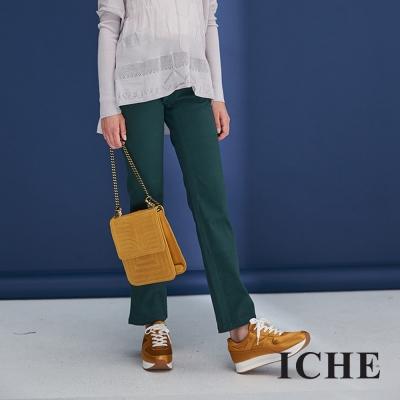 Hana+花木馬 時尚俐落簡約素面百搭造型直筒長褲-綠