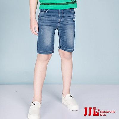 JJLKIDS-百搭刷白造型牛仔五分褲-牛仔藍