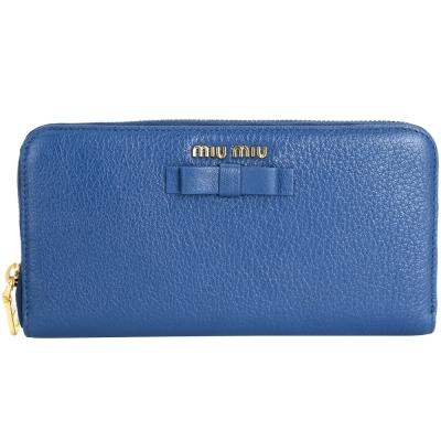 miu miu Madras 蝴蝶結山羊皮拉鍊長夾(藍色)