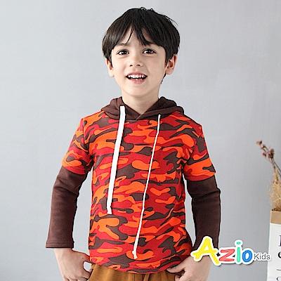 Azio Kids 童裝-上衣 不倒絨迷彩配色袖假兩件連帽上衣(橘)