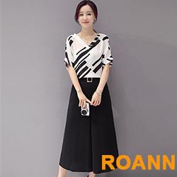 雪紡衫+九分寬褲兩件套 (黑色)-ROANN