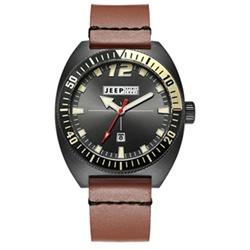 Jeep Spirit 美式復古系列時尚休閒時裝真皮手錶-黑面/棕色帶-46mm