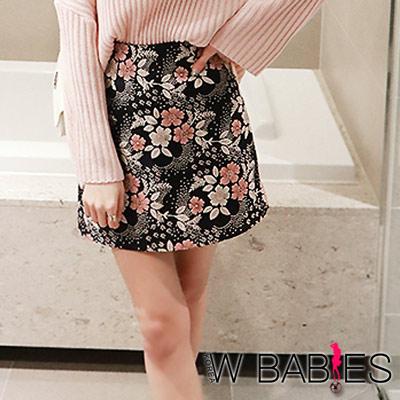 正韓-粉嫩花圈提花後鬆緊窄裙-深藍色-W-BABI