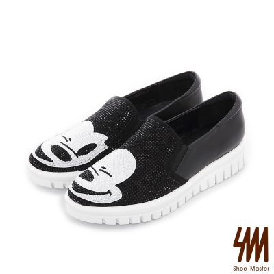 SM~童趣卡通~水鑽小米休閒厚底懶人鞋~黑色