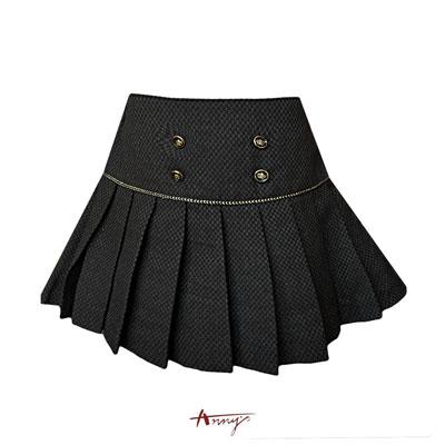 Annys貴族學院高質雙排釦金蔥百褶裙*5264咖啡