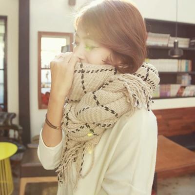 梨花HaNA-韓國英式學院派虛線毛織格紋長圍巾