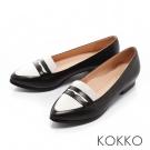 KOKKO-時髦潮流尖頭爵士樂福真皮跟鞋-黑白