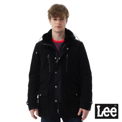 Lee 長版連帽羽絨外套(80%絨)/RG-男款-黑色