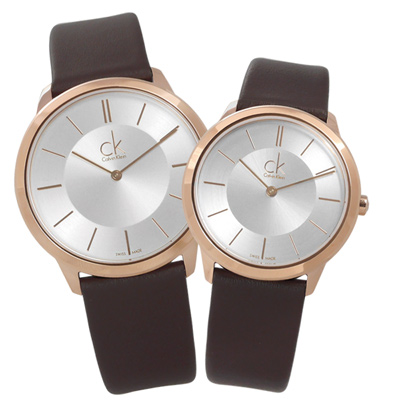 CK 時尚曼哈頓簡約風皮革對錶-銀x玫瑰金框x深褐/39mm+34mm