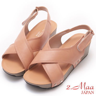 2.Maa-獨特簡約交叉設計厚底涼鞋-梅紅