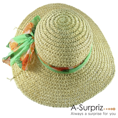 A-Surpriz 夏日風情雪紡蝴蝶結麻編遮陽帽(米)