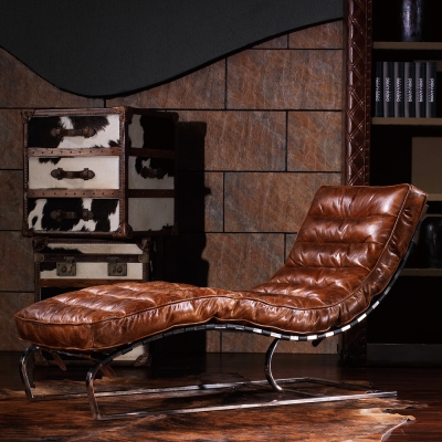 MUSE Valkyrja瓦爾基里復古牛皮曲面躺椅 W153*D63*H82 CM
