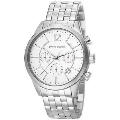pierre cardin皮爾卡登 精粹主義計時腕錶-白X銀/43mm