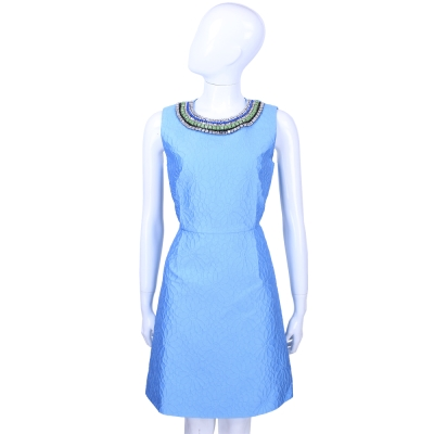 MAX MARA-Shine 水藍色鑽飾滾邊浮雕花卉無袖洋裝