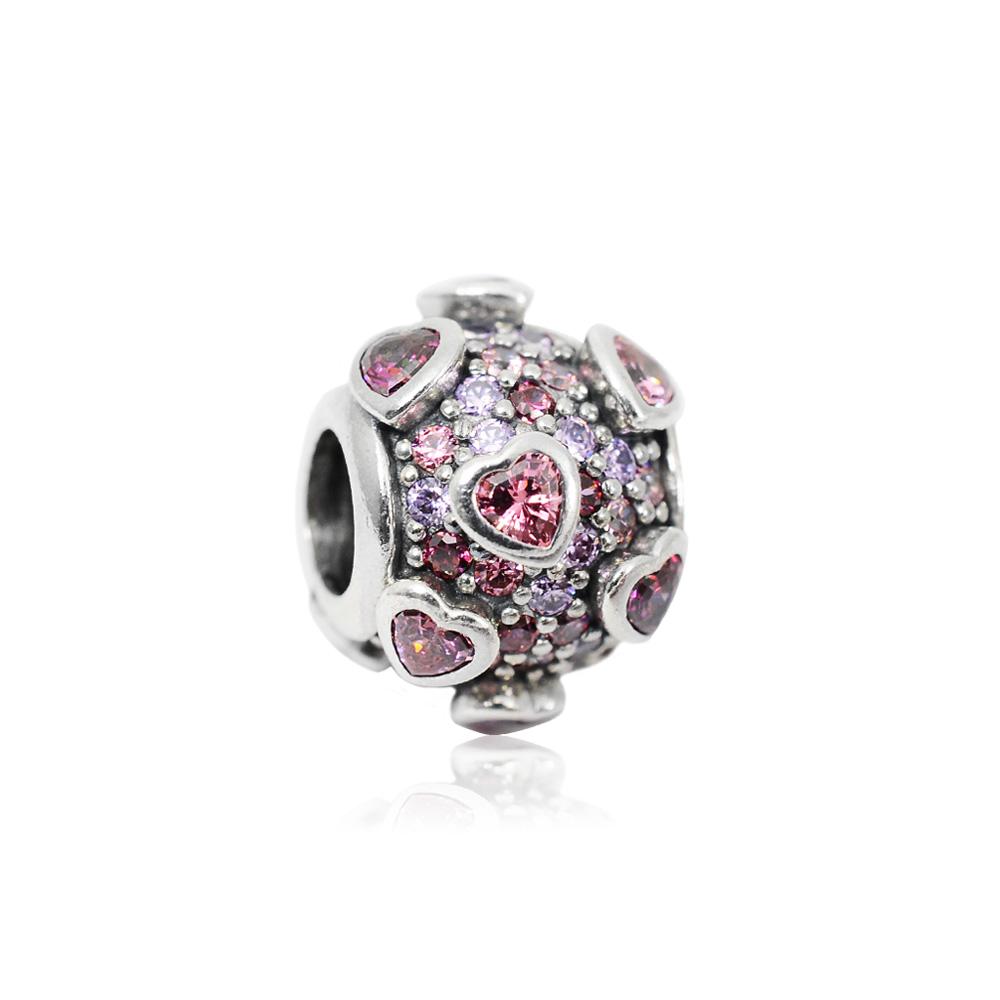 Pandora 潘朵拉  圓珠鑲鋯粉紫愛心綻放 純銀墜飾 串珠