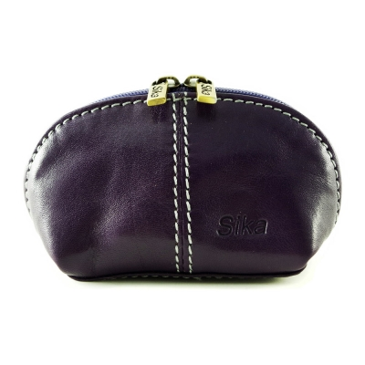 Sika - 義大利時尚真皮復古小巧拉鍊零錢包A 8259 - 07  - 木槿紫