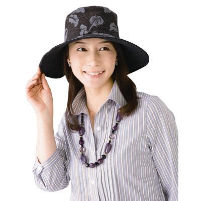 【Sunlead】雙面可戴。淑女款寬緣抗UV防曬遮陽軟帽 (黑色/花朵)