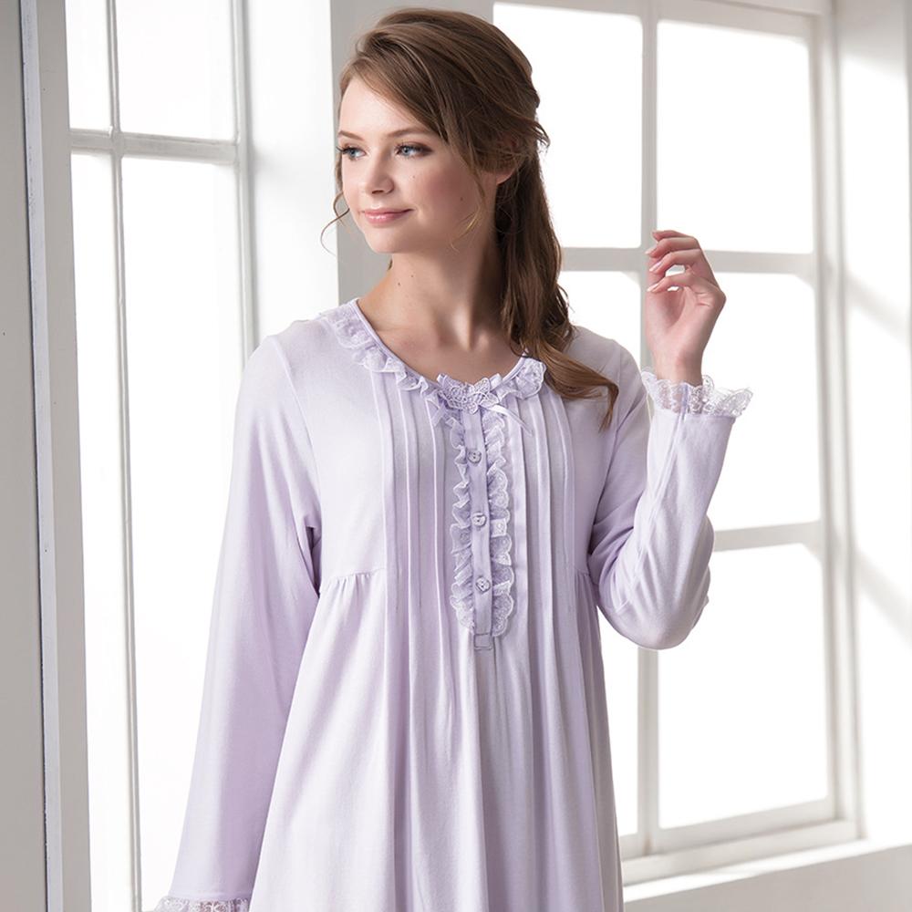 羅絲美睡衣 - 保養系列長袖洋裝睡衣(淺紫色)