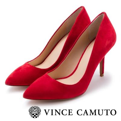 VINCE CAMUTO 氣質理想型 真皮素面高跟鞋-絨紅