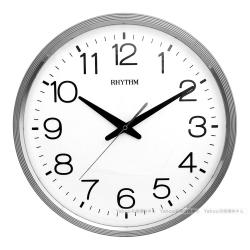 RHYTHM日本麗聲 現代簡約金屬色系超靜音掛鐘(素雅銀)/36cm