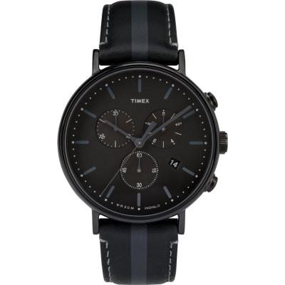 TIMEX 天美時 週末Fairfield 三眼計時手錶-灰黑/ 41 mm