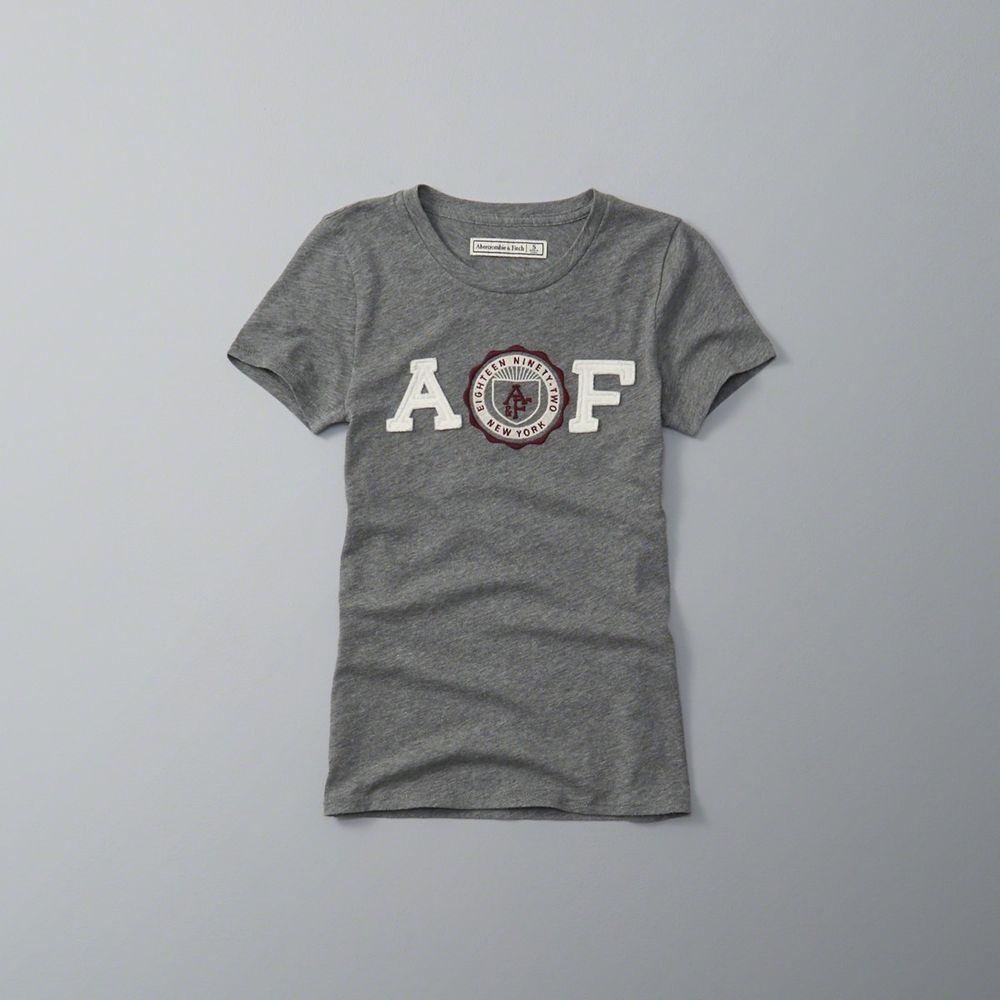 AF a&f Abercrombie & Fitch 女 短袖 T恤 灰 0642