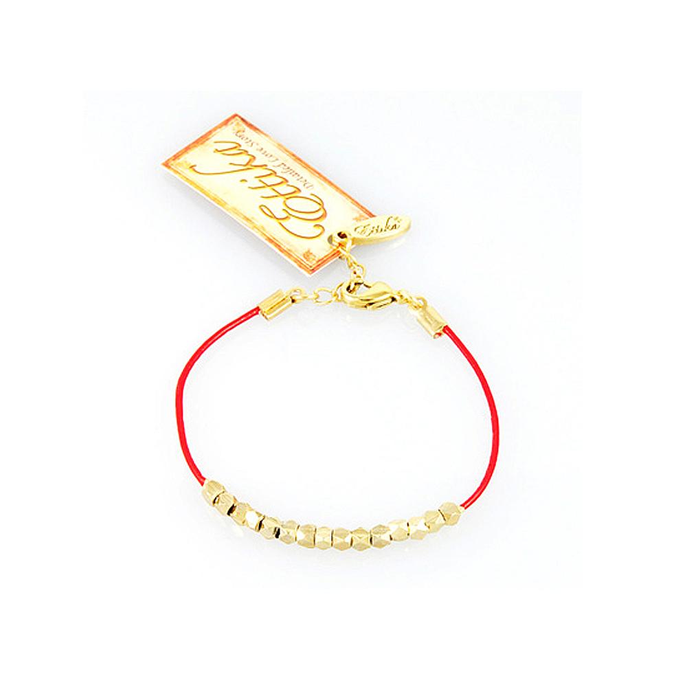 【美國ETTIKA】金色串珠皮革手繩(紅)