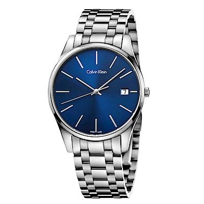 CK CALVIN KLEIN Time 時光系列藍色面盤手錶-40mm