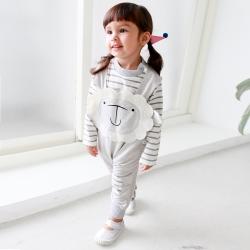 baby童衣 簡約條紋包屁衣綿羊造型吊帶褲 2件套 37003