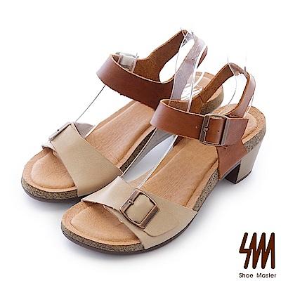 SM-台灣全真皮-雙色扣帶一字中高粗跟涼鞋-卡其棕