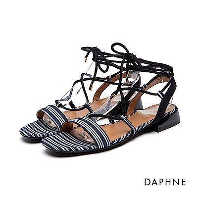 達芙妮DAPHNE 涼鞋-一字綁帶布面低跟涼鞋-藍