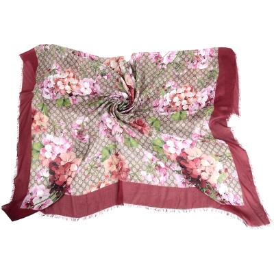 GUCCI Blooms 花朵系列絲質披肩(紅色)