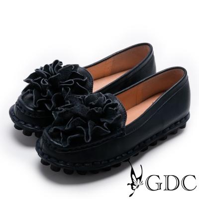 GDC-真皮舒適立體花卉縫線休閒鞋-藍色