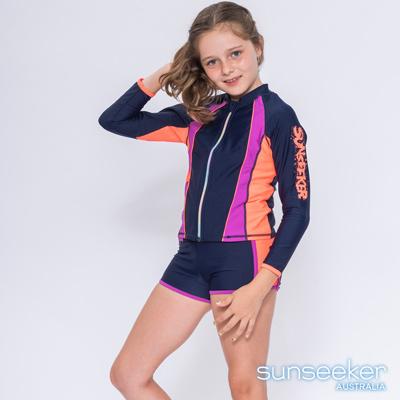 澳洲Sunseeker 抗UV防曬長袖運動泳衣外套-大女童加大(深藍)