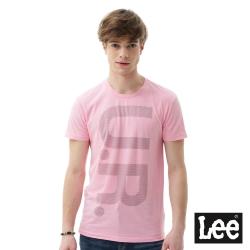 Lee UR印刷短袖圓領T恤 男 粉色