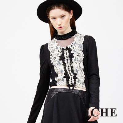 ICHE-衣哲-立體蕾絲花邊拼接上衣