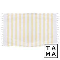 TAMA 天然純淨頂級土耳其手工平織薄巾(月色連波黃)