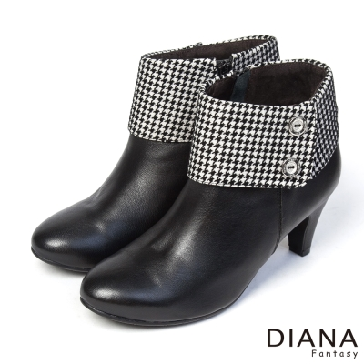 DIANA-俏麗佳人-千鳥格翻領異材質真皮踝跟靴-黑