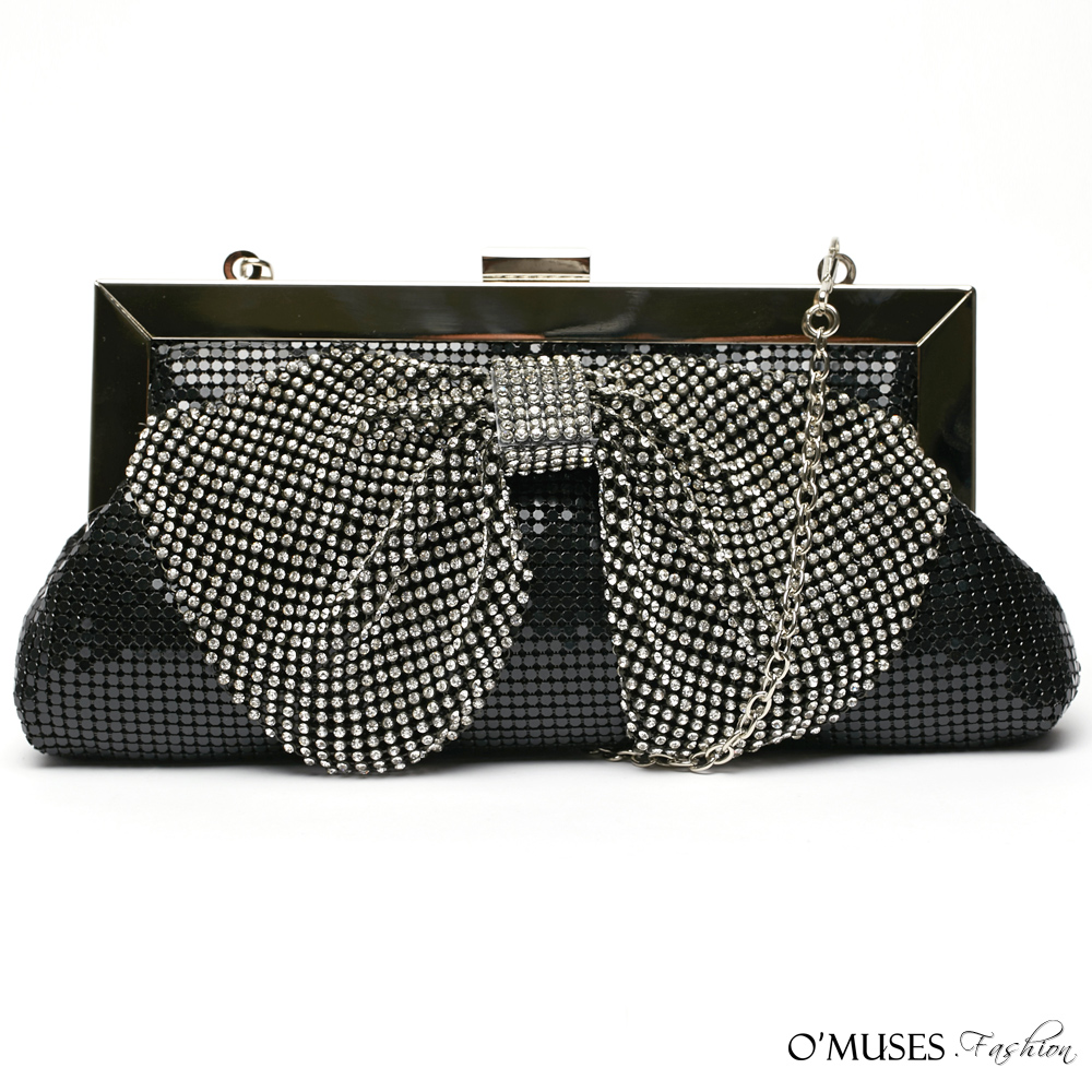 奢華鑽石金屬宴會包(黑色)-OMUSES