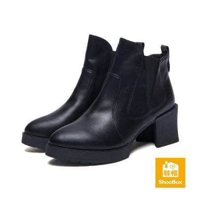 鞋櫃ShoeBox-短靴-拼接鬆緊帶粗中跟踝靴-黑