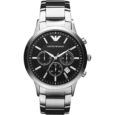 Emporio Armani Classic 王者時尚家三眼計時腕錶-黑x銀/43mm