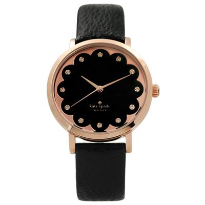 kate spade 花朵綻放璀璨之星真皮手錶-黑x玫瑰金框/34mm