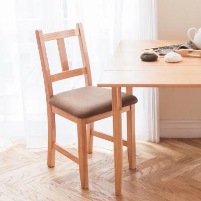 CiS自然行實木家具- 南法實木餐椅(溫暖柚木色)深咖啡椅墊