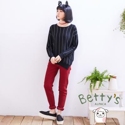 betty's貝蒂思 拉鍊拼接彈性小直筒長褲(紅色)