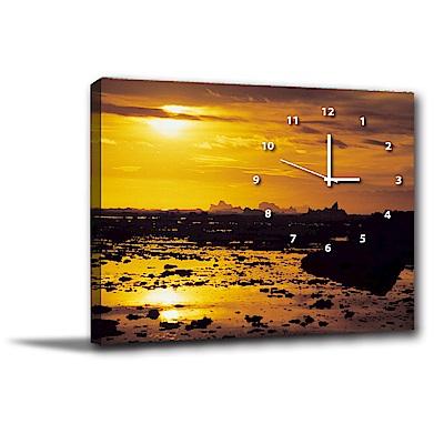 24mama掛畫-單聯式橫幅 掛畫靜音時鐘 夕陽西下 60x40cm