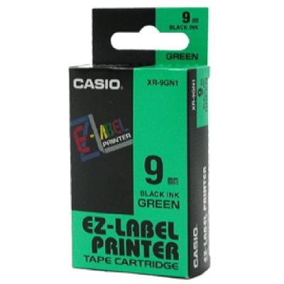 CASIO XR-9GN1 綠底黑字標籤帶9m/m×8M