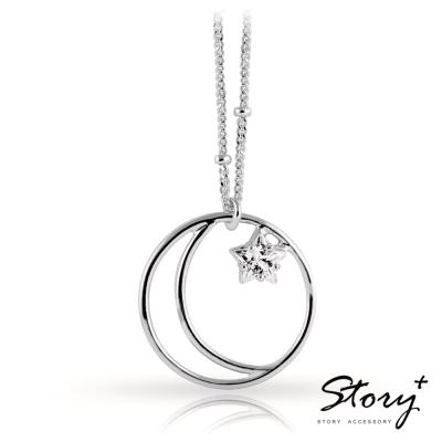 STORY故事銀飾-永恆星月-純銀項鍊(白K金)