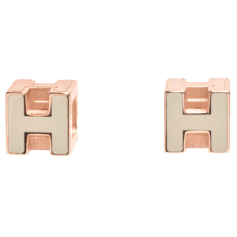 HERMES 經典Cage dH立體H LOGO簍空方塊穿式耳環(白X玫瑰金)