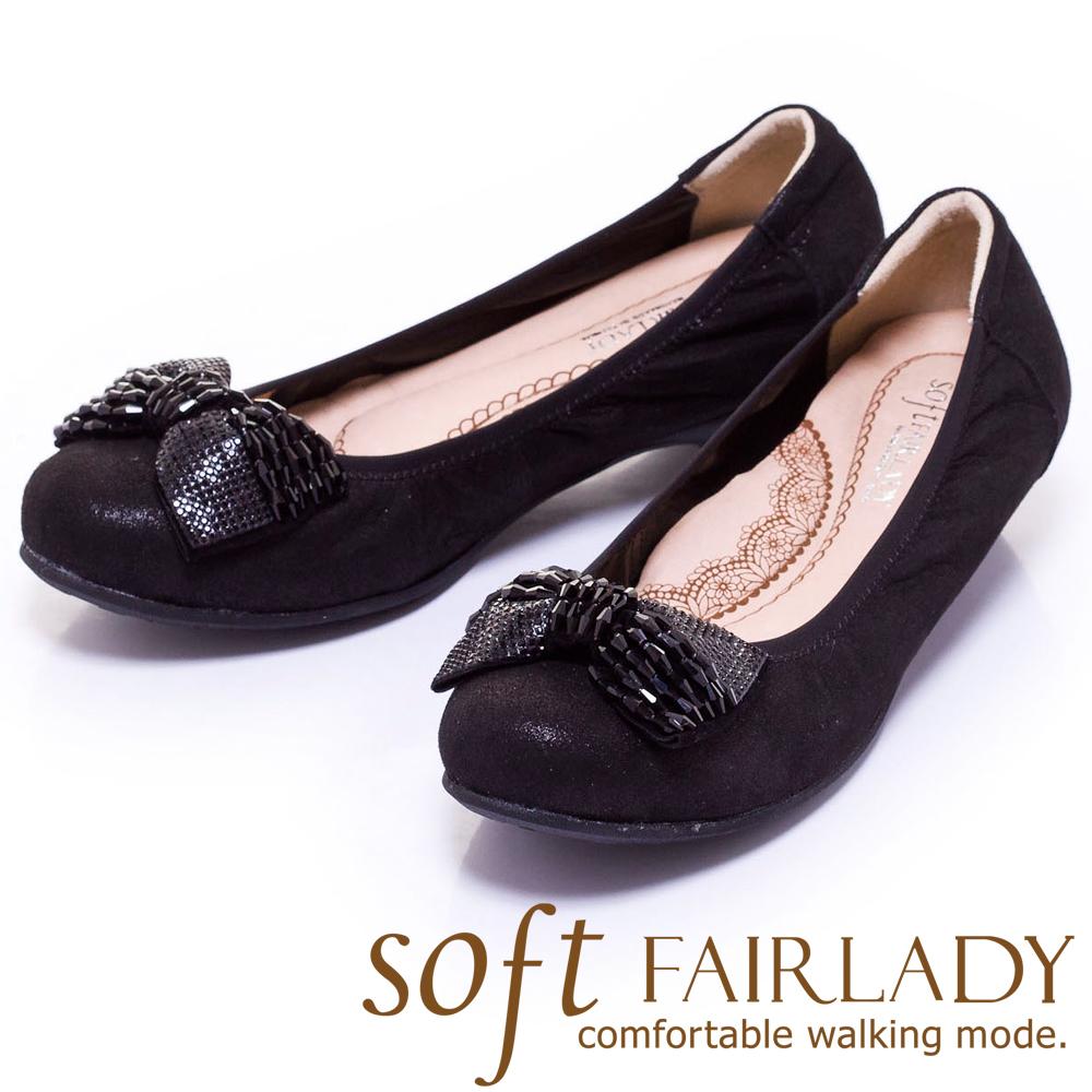 Fair Lady Soft芯太軟 亮珠飾蝴蝶結低跟鞋 黑