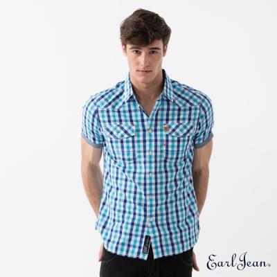 Earl Jean 經典格紋短袖襯衫-藍-男